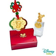 Disney迪士尼系列金飾 彌月金飾印章套組木盒-聰明伶俐米奇款-米奇造型印章 0.15錢
