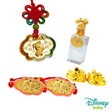 Disney迪士尼系列金飾 彌月金飾印章套組木盒-聰明伶俐美妮款-美妮造型印章 0.55錢