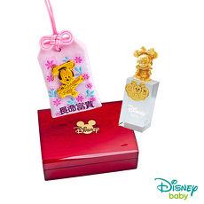 Disney迪士尼系列金飾 彌月金飾御守/印章套組木盒-聰明美妮款-美妮造型印章 0.13錢