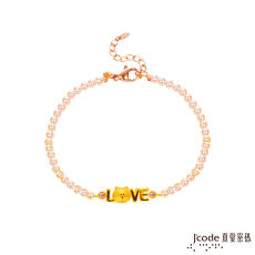 Jcode真愛密碼 LINE我愛熊大黃金/水晶珍珠手鍊