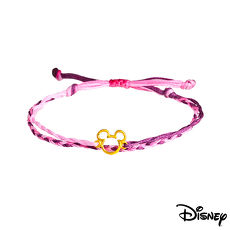 【預購】Disney迪士尼系列金飾 黃金/彩色蠟繩手鍊-經典米奇款