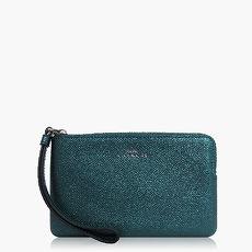 【COACH攜帶便利】皮革 / 零錢收納 / 手拿包(小款)_金屬藍綠