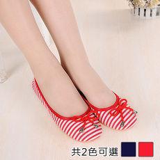 【Alice韩系馆】Y1257 经典条纹蝴蝶结软Q蛋卷鞋- 预购