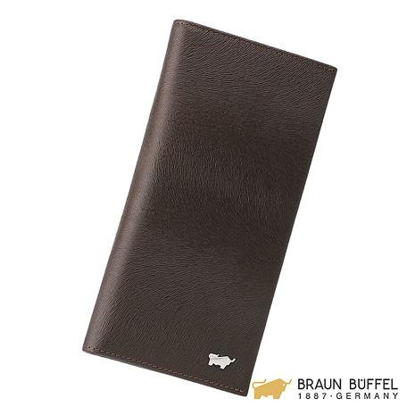 【BRAUN BUFFEL】提貝里烏斯系列17卡零錢長夾 -棕色 BF166-C301-SL