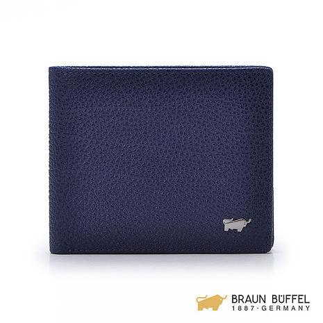 【BRAUN BUFFEL】路易系列12卡透明窗上翻壓紋短夾 -藍色 BF184-317-IN