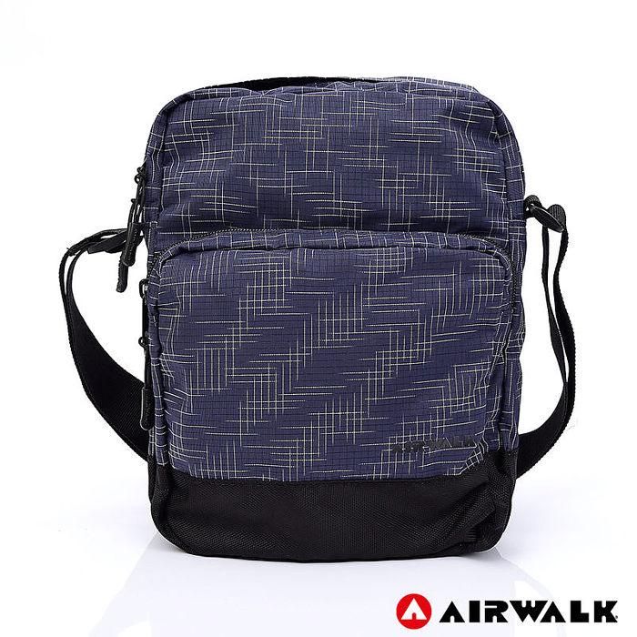 AIRWALK -輕量緹花休閒側背包-藍色-A755301380