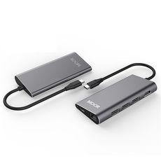 MOOR Type-C HUB HDMI RJ45多功能充電傳輸集線器 8 ports