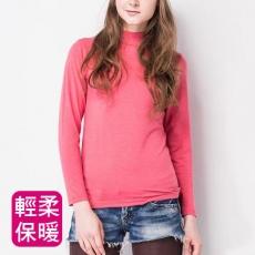 【MORINO摩力諾】女 發熱衣 長袖T恤 半高領衫-蜜桃粉//特賣M-L