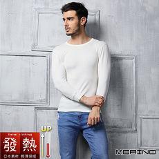 【MORINO摩力諾】極暖發熱長袖圓領衫(男)-白色//特賣
