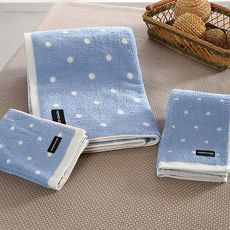 【MORINO摩力諾】美國棉圓點方巾(3件組)-天空藍