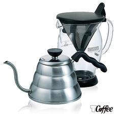 【TCoffee】HARIO免濾紙手作咖啡2件組(咖啡分享杯、細口壺1000ml)-特賣