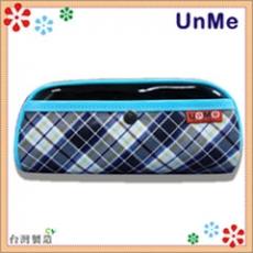 任選【UnMe】全彩格紋筆袋/ 藍色