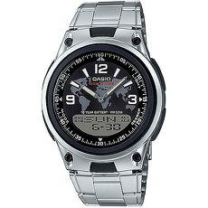 CASIO 都會個性地圖紋雙顯腕錶(鋼帶/黑面)_AW-80D-1A2