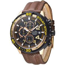 ALBA 終點線任務運動計時男錶-黑+金框/咖啡(AM3112X1)