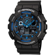 G-SHOCK 重型機械感立體3D錶盤雙顯腕錶-黑x藍(GA-100-1A2)