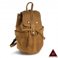 【H-CT】雅痞黃造型繩扣設計款真皮後背包(D3303-Z)