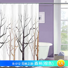 LISAN特級加厚防水浴簾 B-012花映之旅  森林(棕色) -1入