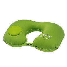 旅遊首選 旅行用品 按壓式U型靠頸枕 午睡枕 飛機枕 護頸枕(蘋果綠)