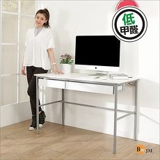 BuyJM簡單型亮白低甲醛粗管雙抽工作桌/電腦桌/寬120cm