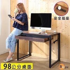 BuyJM LOFT工業風防潑水98公分黑烤漆方框工作桌/附插座/電腦桌