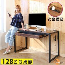 BuyJM LOFT工業風防潑水128公分黑烤漆方框工作桌/附插座/電腦桌