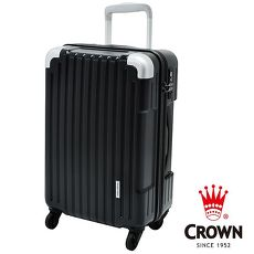 【CROWN 皇冠】日本設計 19吋 PC 拉桿 360度靜音輪 拉鍊輕量行李箱 (黑灰格+黑)?