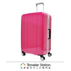 【日本Traveler Station】日本設計 25吋 PC 鋁框拉桿 超靜音輪 行李箱-珠光桃紅