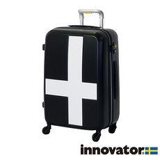【日本 innovator】日本設計 25吋 PC PLUS 拉鍊拉桿 360度超靜音車輪 輕量 行李箱 / 旅行箱 - 黑底白貼紙