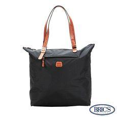 【米蘭 BRICS】 經典尼龍 超大空間 收納 輕質布料 手提袋 - 黑色