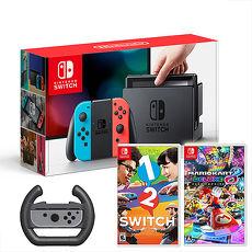 任天堂Switch主機+瑪利歐賽車8 豪華版+1-2-Switch《贈:賽車手把方向盤+玻璃保護貼》