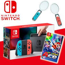 任天堂Switch主機+瑪利歐網球 王牌高手《贈:網球拍+玻璃保護貼》
