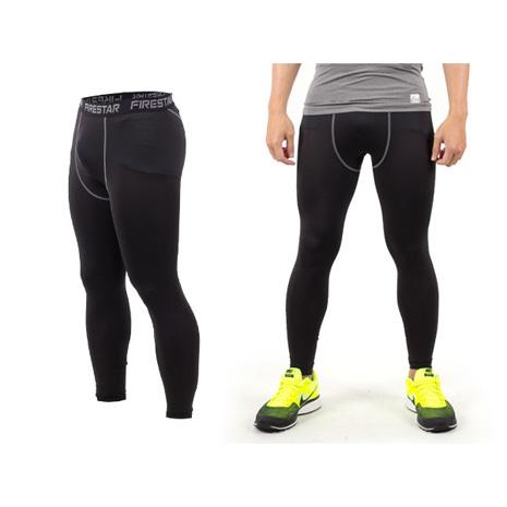 【FIRESTAR】男機能緊身長褲-慢跑 路跑 與NIKE PRO同版型  黑灰