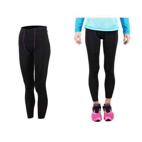 【FIRESTAR】女機能緊身長褲-慢跑 路跑 馬拉松  黑深紫