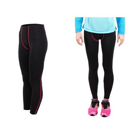 【FIRESTAR】女機能緊身長褲-慢跑 路跑 馬拉松  黑桃紅