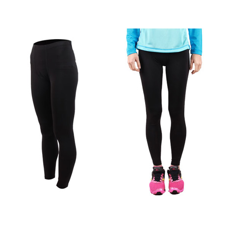 【FIRESTAR】女機能緊身長褲-慢跑 路跑 馬拉松  黑