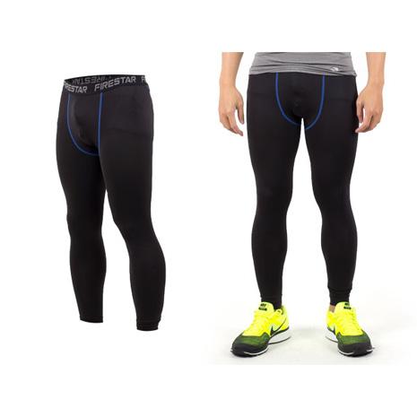 【FIRESTAR】男機能緊身長褲-慢跑 路跑 與NIKE PRO同版型  黑寶藍