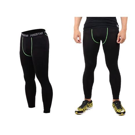 【FIRESTAR】男機能緊身長褲-慢跑 路跑 與NIKE PRO同版型  黑綠