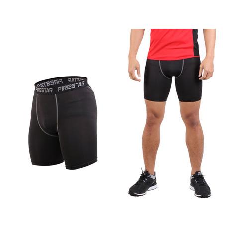 【FIRESTAR】男機能緊身短褲-慢跑 路跑 運動短褲  黑灰