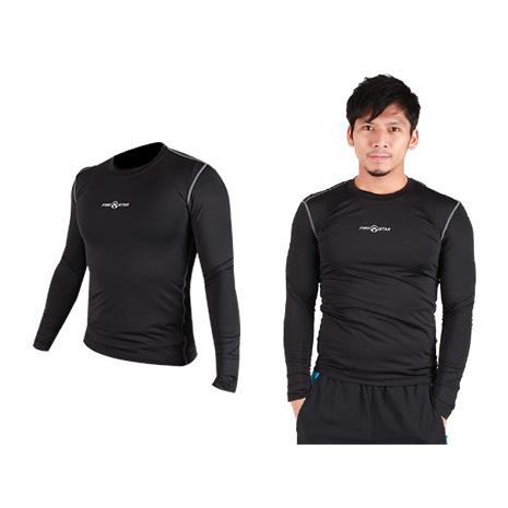 【FIRESTAR】男緊身長袖T恤-慢跑 路跑 運動T恤  黑灰