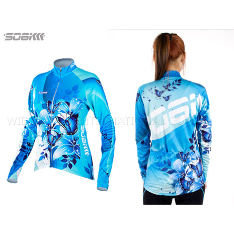 【SOGK】幻影 女薄長袖車衣-反光條 自行車 腳踏車 單車  水藍