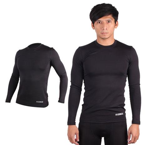 【FIRESTAR】男機能緊身圓領T恤-保暖 刷毛 緊身衣 黑