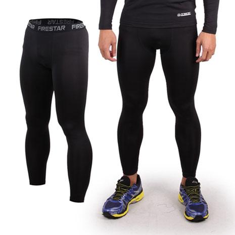 【FIRESTAR】男緊身長褲-緊身褲 刷毛 保暖 黑灰
