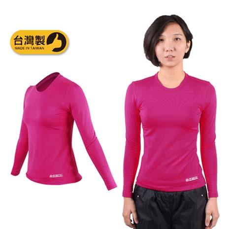 【FIRESTAR】女機能緊身圓領保暖T恤-緊身衣 慢跑 路跑 台灣製 桃紅