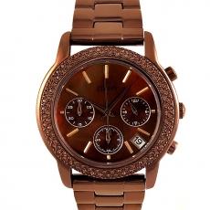 DKNY 咖啡金色三眼時尚晶鑽腕錶