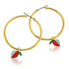 JUICY COUTURE 愛心蘋果晶鑽鑲嵌環型耳環(金色)(驚喜下殺)
