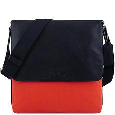 COACH 厚織帆布斜背包-橘紅色