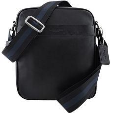 COACH 皮革壓紋斜背包-黑色(APP)
