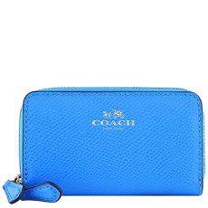 COACH 防刮皮革拉鍊名片夾/零錢包-藍色(特賣)