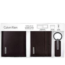 Calvin Klein 皮革压纹双折短夹-附名片夹及钥匙圈/巧克力色(特卖)