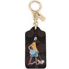 COACH 时尚女孩图样PVC钥匙圈-巧克力色(特卖)